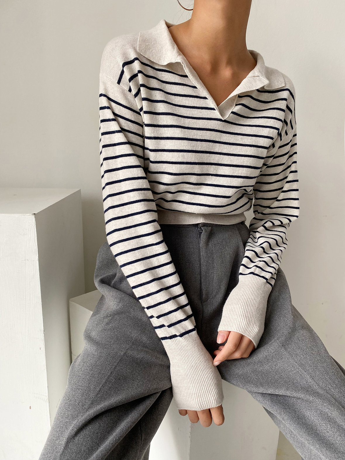 긴팔 티셔츠 모델 착용 이미지-S1L22